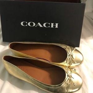 Coach gold flats